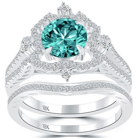 Permalink to Blue Diamond Wedding Rings Set