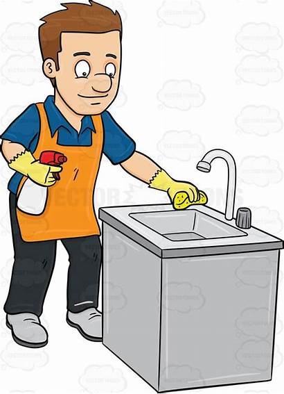 Sink Clean Kitchen Cartoon Clipart Cleaning Toilet
