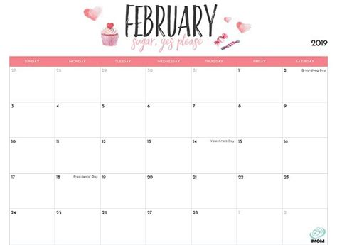 blank february  calendar printable  holidays