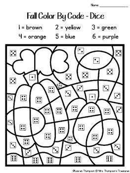 fall coloring pages color  code kindergarten