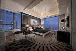 High End Contemporary Interior Design Decoration Ideas Modern Master Bedroom With Large Glass Wall Using Luxury Carpet Design