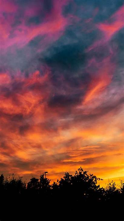 Sky Sunset Colorful Trees Iphone Backgrounds Wallpaperscraft