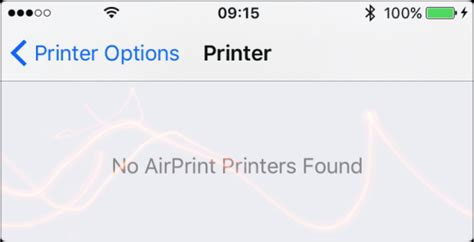 no airprint printers found on