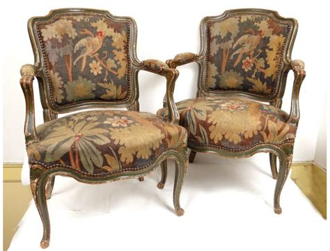 Pair Louis Xv Armchairs Lacquered Wood Carved Birds