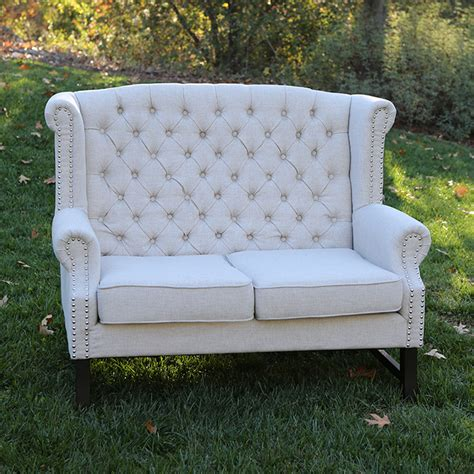 High Backed Settee by High Backed Tufted Linen Sweetheart Settees