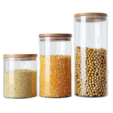 kitchen storage bottles 6 size glass storage box tea food canister for kitchen 3124
