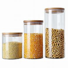 6 Size Glass Storage Box Tea Food Canister For Kitchen
