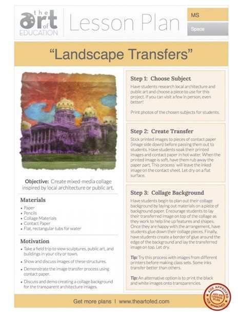 Landscape Transfers Free Lesson Plan Download  The Art Of Ed