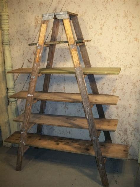 vintage ladder shelf vintage wood step ladder shelving 6 steps 3231