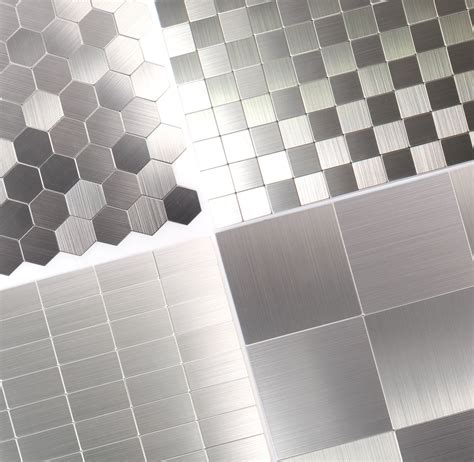 mosaic tiles metal self adhesive mikros silver tm33777