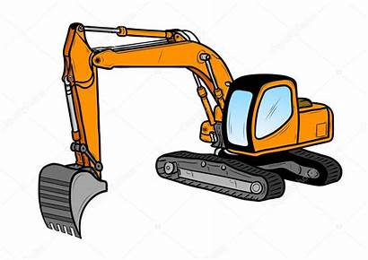 Excavator Cartoon Illustration Orange Vector Isolated Depositphotos