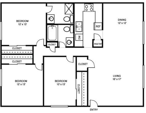 3 Bedroom 2 Bath House by Image Result For Floor Plan 3 Bedroom 2 Bath 44x28