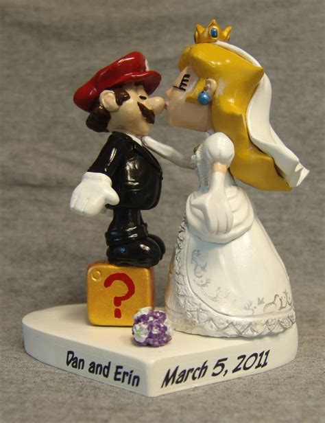 Mario And Princess Peach Cake Topper Beach Wedding Cake