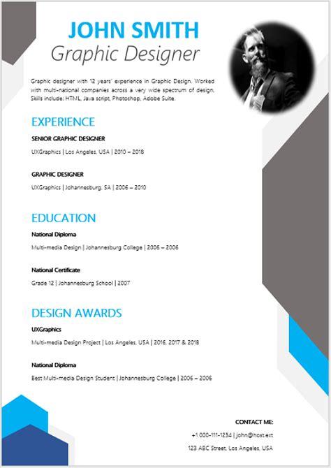 graphic designer curriculum vitae professional cv zone