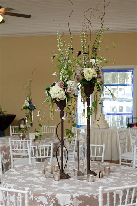 lilac ivory  green centerpiece wrought iron