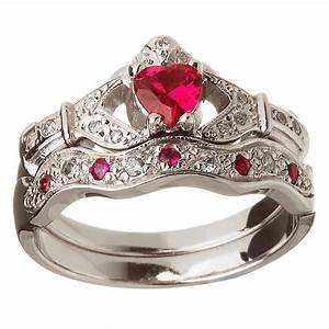 14k white gold ruby set heart claddagh ring wedding ring set With wedding rings sets