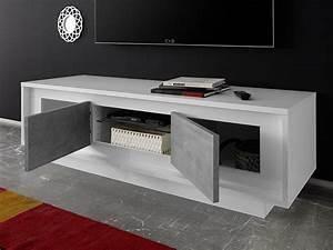 Meuble Tv Beton : meuble tv sky prato blanc mat b ton ~ Teatrodelosmanantiales.com Idées de Décoration