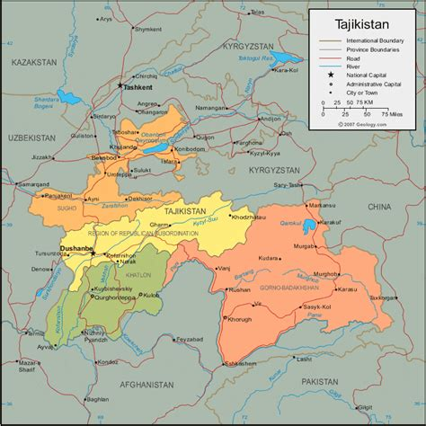 Tajikistan Map and Satellite Image