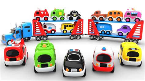 Learn Colors With Car Transporter Toy Street Vehicles