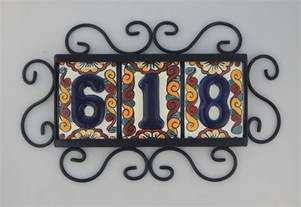 3 high relief mexican ceramic number tiles horizontal