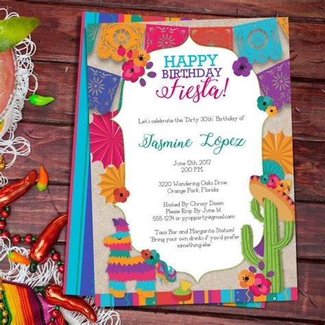 birthday fiesta mexican style party invitation template