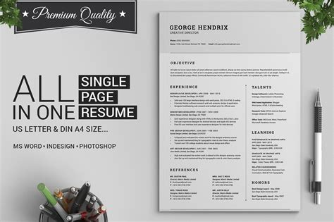 all in one single page resume pack resume templates