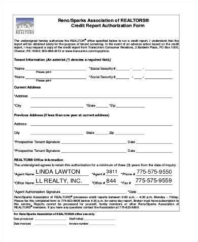 sle credit report authorization forms 9 free