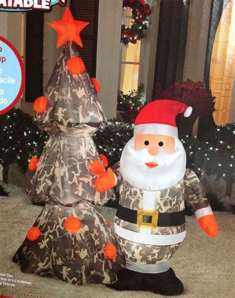 santa claus camo  tree airblown christmas inflatable