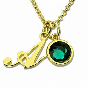 custom letter jewelry personalized initial birthstone With custom letter necklace gold