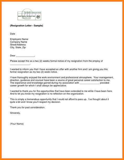 formal resignation letter   weeks notice letter flat