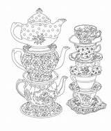 Tea Elegant Coloring Printable Adult Sheets Issuu Cup Birthday Mandala sketch template