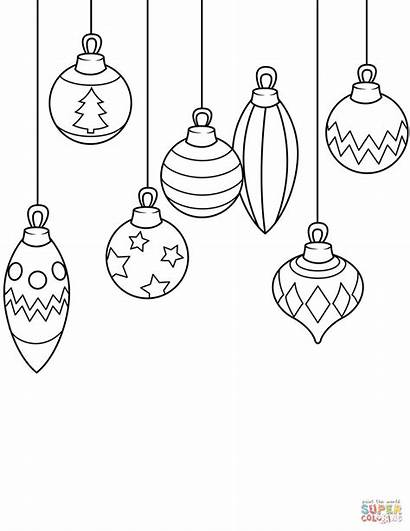 Christmas Coloring Simple Ornaments Pages Printable