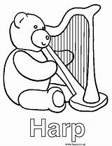 Harp Coloring 05kb 598px sketch template