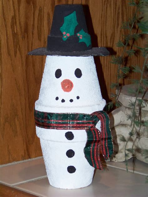 Silver Trappings Kids Christmas Craft  Clay Pot Snowman