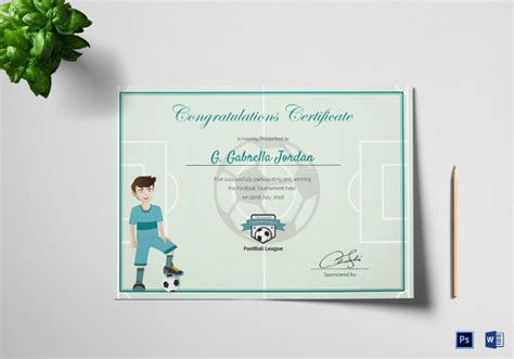 sports certificate templates word  ai indesign