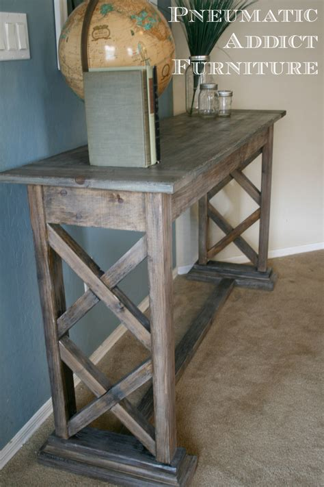 How To Make An Entryway Table by White X Trestle Console Diy Projects