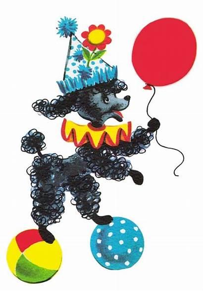 Poodle Clip Clipart Birthday Freebie Cards Retro