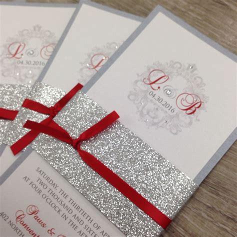 red silver  white glitter wedding invitations