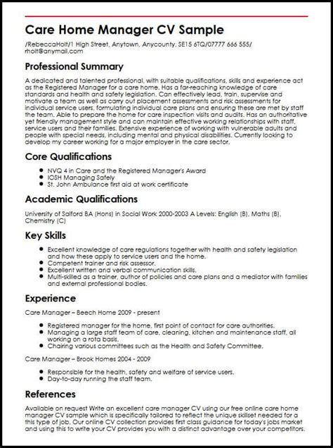 Manager Cv by Care Home Manager Cv Sle Myperfectcv