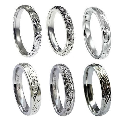 engraved 9ct white gold 3mm wedding rings court comfort new 375 uk hm bands ebay