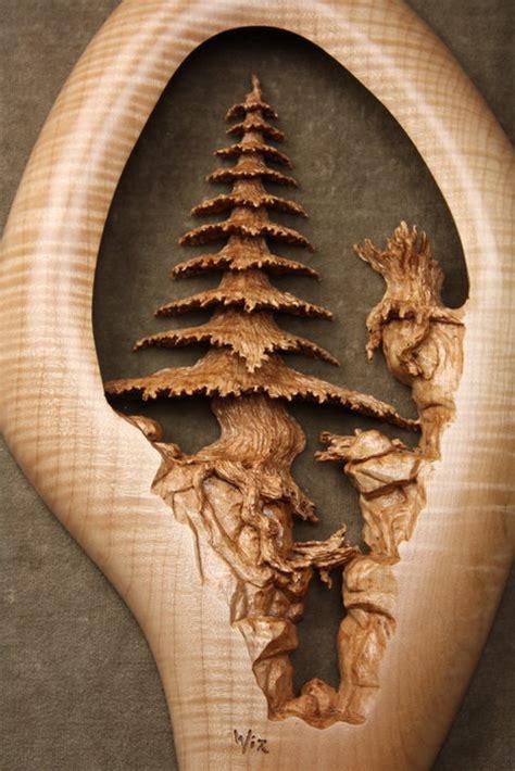 deep ravine  pierced relief wood carving  gary wiz