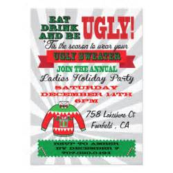 ugly sweater christmas party invitations zazzle