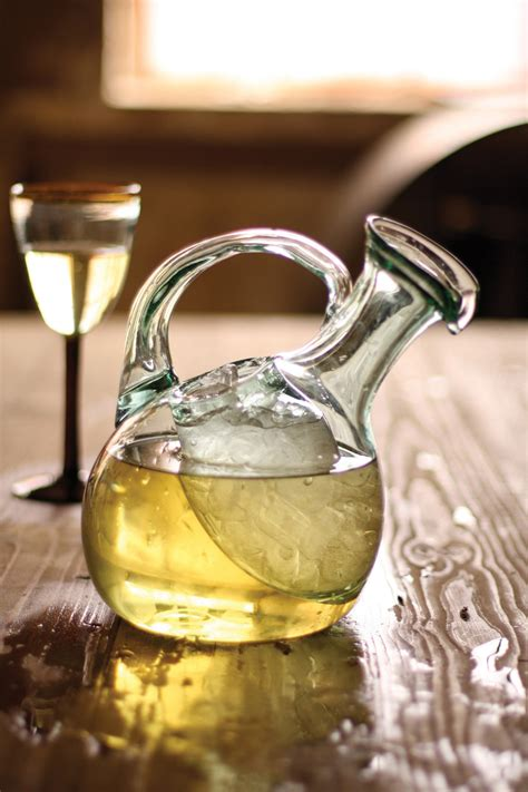 tilted wine decanter  ice pocket recycled glass wine