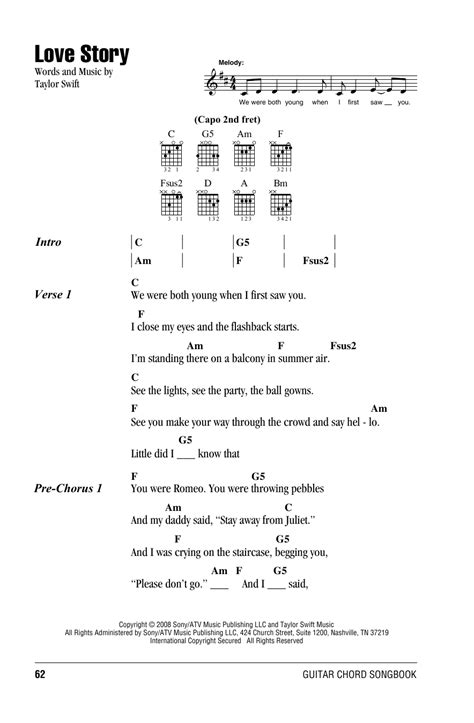 Get the most current catchy songs and lyrics, no copyrights & free to use! Love Story Sheet Music | Taylor Swift | Guitar Chords/Lyrics