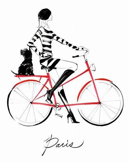 Paris Parisian Kunst Fahrrad Sketch Chic Gemerkt