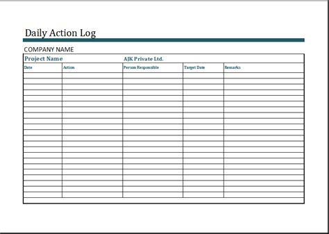 Daily Work Log Template Microsoft Excel Daily Work Log
