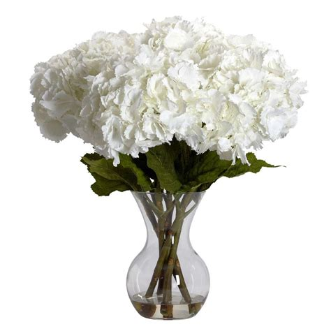 Large Glass Flower Vase by Nearly 23 In H White Large Hydrangea With Vase
