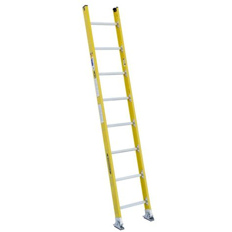 ladder review werner 8 ft fiberglass round rung straight ladder with 375 lb load capacity type iaa duty
