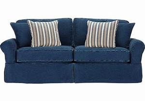 shop for a cindy crawford home beachside blue denim sofa With red denim sectional sofa