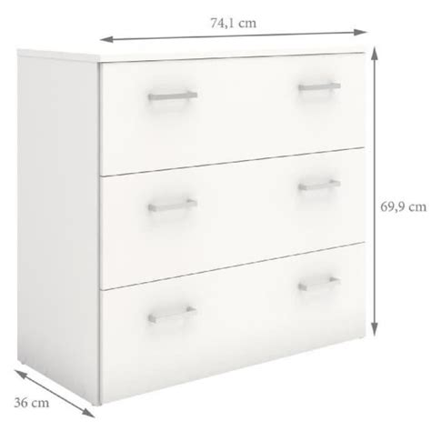 chambre grand format commode 3 tiroirs blanche achat vente commode 3